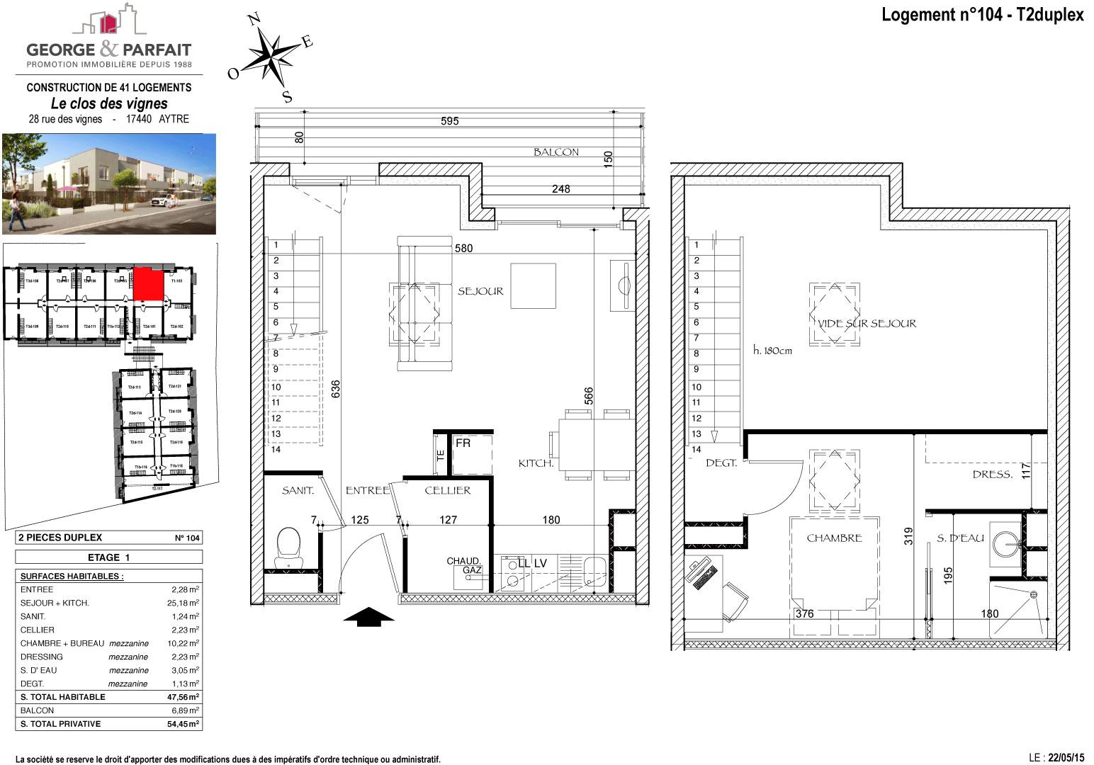 Visite 3d de l 39 appartement neuf 104 en vente aytr for Cuisine 3d aytre